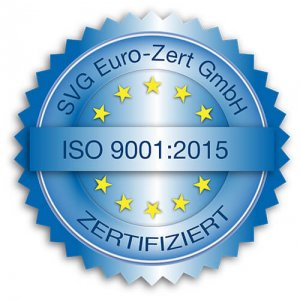 ISO 9001:2015 Zertifizierungssiegel SVG Euro-Zert GmbH